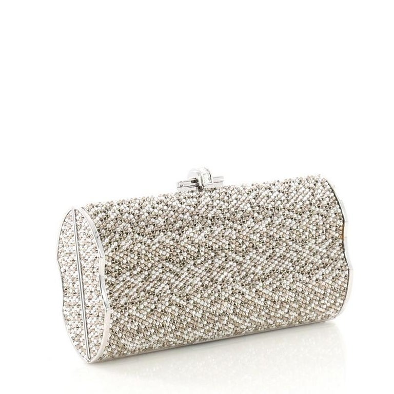 Brown Judith Leiber Chain Minaudiere Box Clutch Crystal Long For Sale