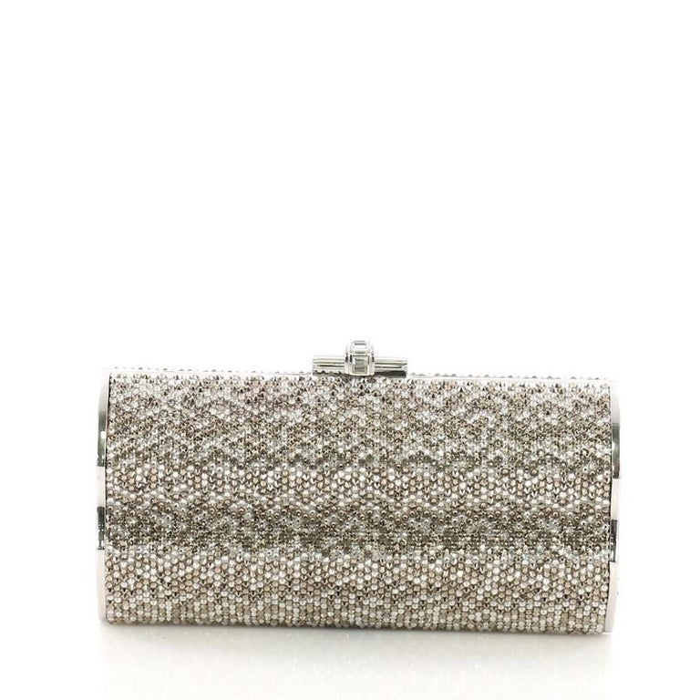 Judith Leiber Chain Minaudiere Box Clutch Crystal Long In Good Condition For Sale In New York, NY
