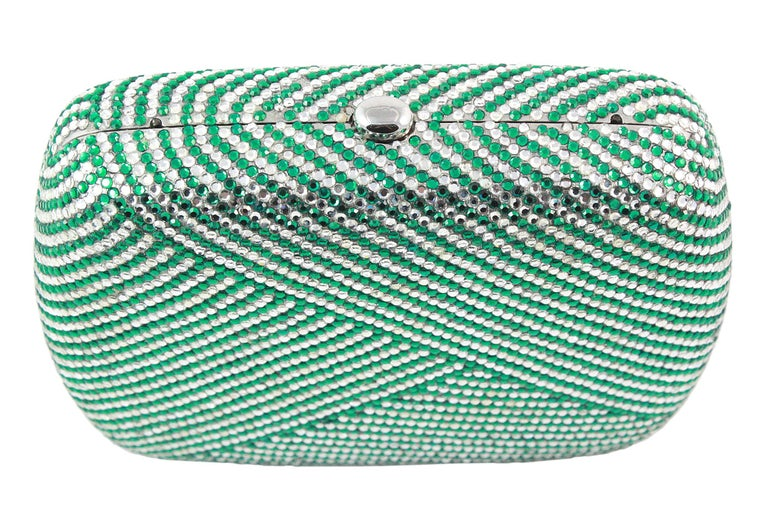 Judith Leiber Clear and Green Rhinestone Clutch For Sale 1