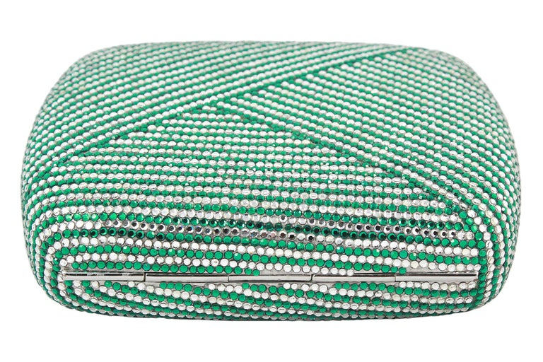 Judith Leiber Clear and Green Rhinestone Clutch For Sale 2