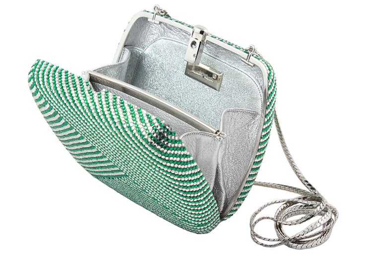 Judith Leiber Clear and Green Rhinestone Clutch For Sale 3