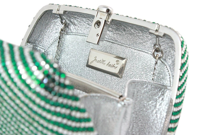 Judith Leiber Clear and Green Rhinestone Clutch For Sale 4