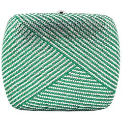 Judith Leiber Clear and Green Rhinestone Clutch