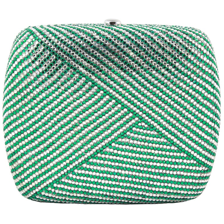 Judith Leiber Clear and Green Rhinestone Clutch For Sale