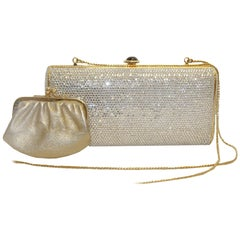 Judith Leiber Clear Crystal Clutch Evening Bag
