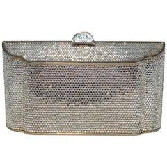 Judith Leiber Clear Swarovski Crystal Angled Box Minaudiere Evening Bag Clutch
