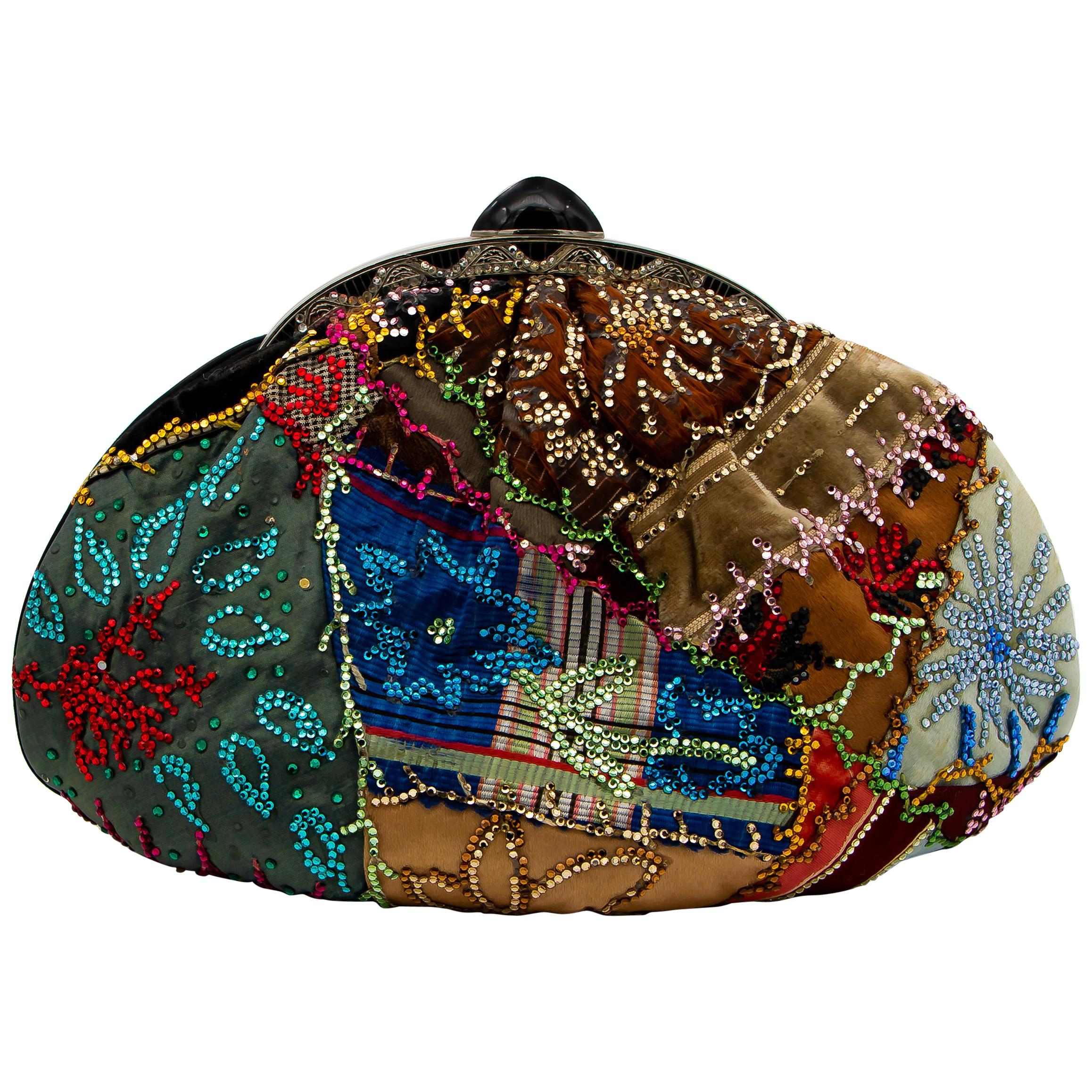 Judith Leiber Collectible Couture Bag Two Sided Beaded Pattern Made In Italy