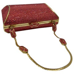 Judith Leiber Coral Crystal Minaudiere With Fancy Clasp and Jeweled Chain Handle