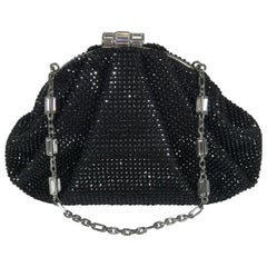 Judith Leiber Couture Black Rhinestone Silver Metal Evening Bag 2016