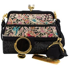 Judith Leiber Couture Collectible Multicolored Embroidered & Bedazzled Handbag