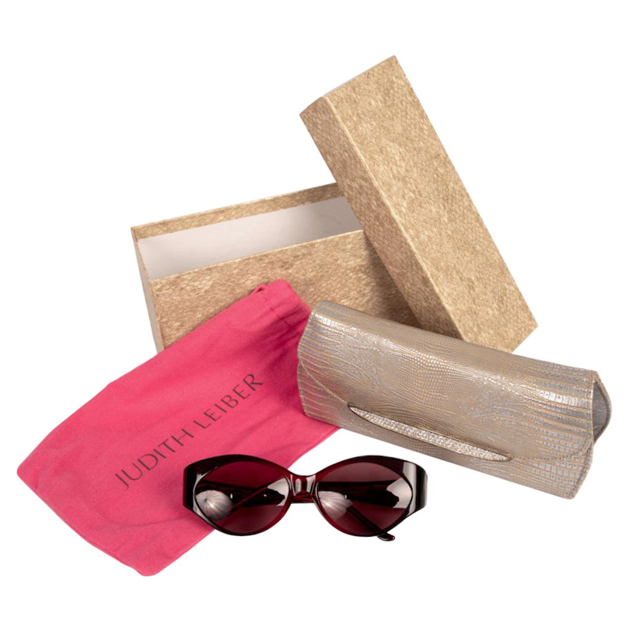 Judith Leiber Couture Jeweled 'Bluebell' Crimson & Blue Sunglasses with Case