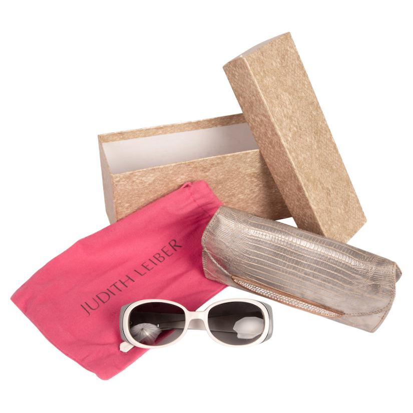 Judith Leiber Couture White and Black Crystal & Pearl Decor Sunglasses and Case