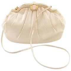 Judith Leiber Cream Karung Skin Handbag-Rose Quartz Cabochon Clasp