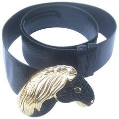 Judith Leiber Crystal Equine Black Leather Belt circa 1980s