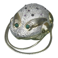 Judith Leiber Crystal Jeweled Frog Minaudière c 1980s