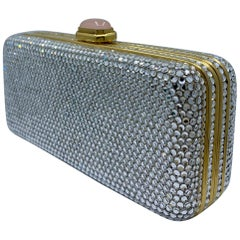 Judith Leiber Crystal Minaudiere Evening Clutch With Rose Quartz Cabochon Clasp