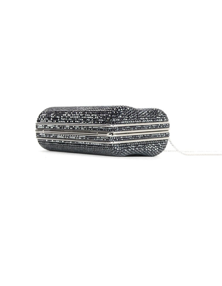 Women's Judith Leiber Dark Grey Swarovski Crystal Small Minaudiere Bag W/ Strap  For Sale