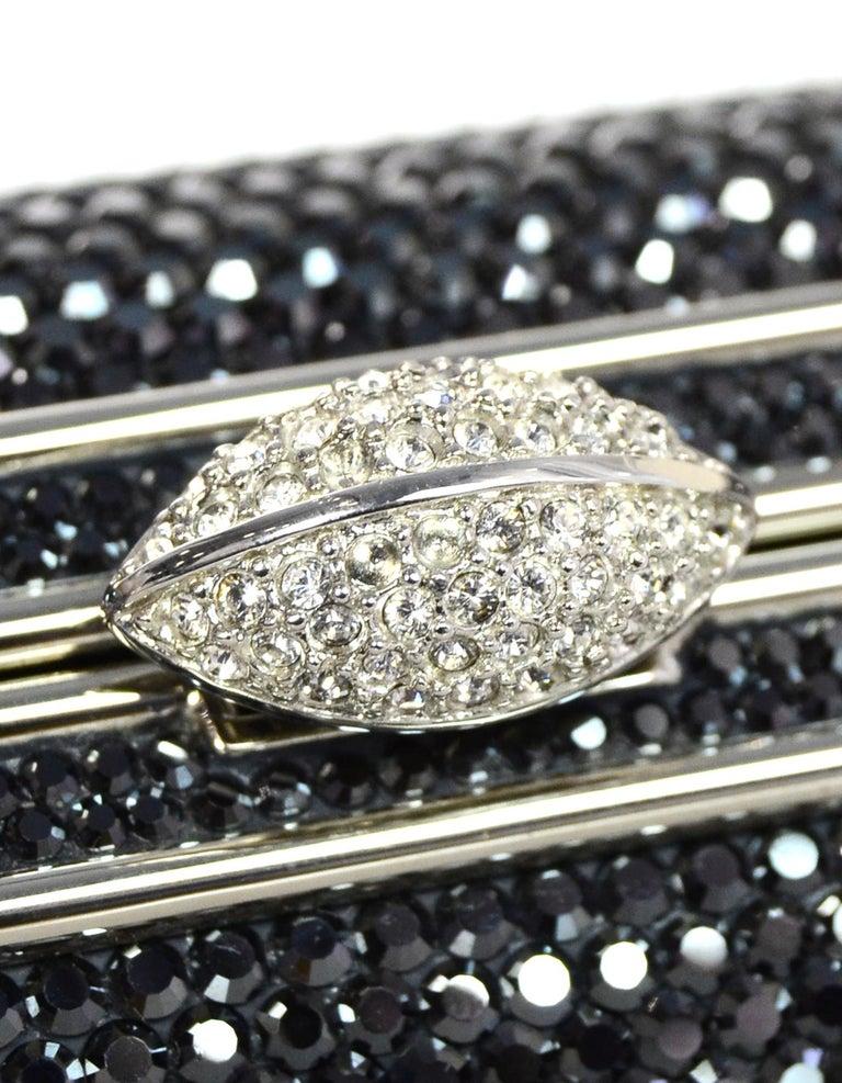 Judith Leiber Dark Grey Swarovski Crystal Small Minaudiere Bag W/ Strap  For Sale 1