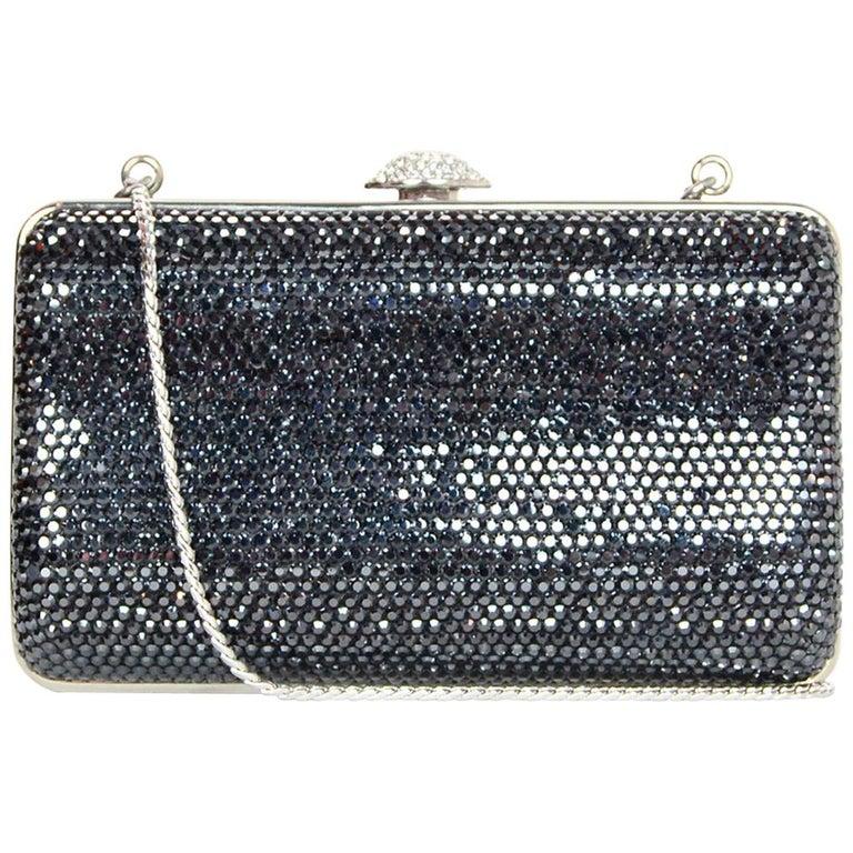 Judith Leiber Dark Grey Swarovski Crystal Small Minaudiere Bag W/ Strap  For Sale
