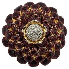 Judith Leiber Dark Plum Purple Enamel on Gold Flower Pin
