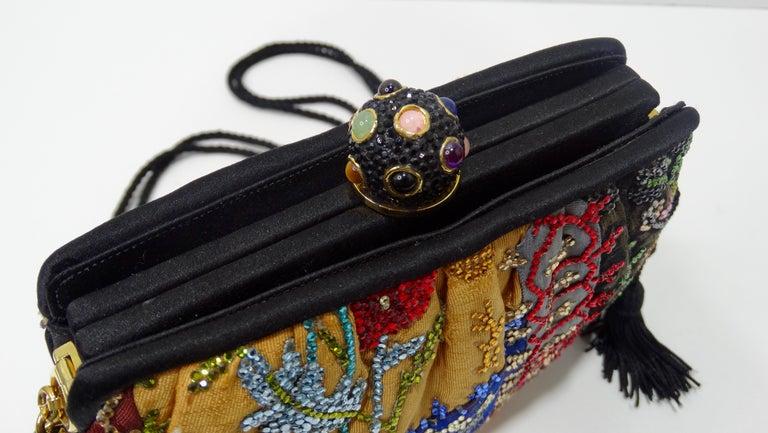 Brown Judith Leiber Embellished Patchwork Bag For Sale