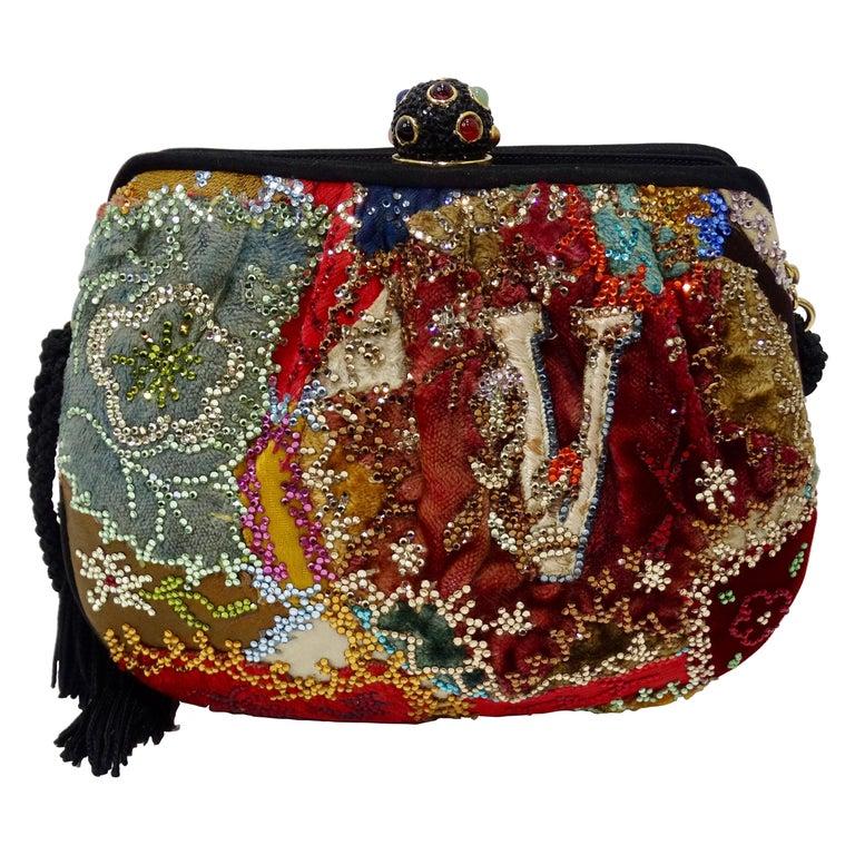 Judith Leiber Embellished Patchwork Bag For Sale