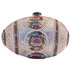 Judith Leiber Faberge Egg Minaudiere Clutch Shoulder Bag Swarovski Crystals