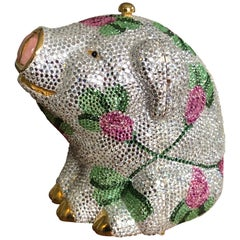 Judith Leiber Festive Floral Pig Jeweled Minaudière 1991