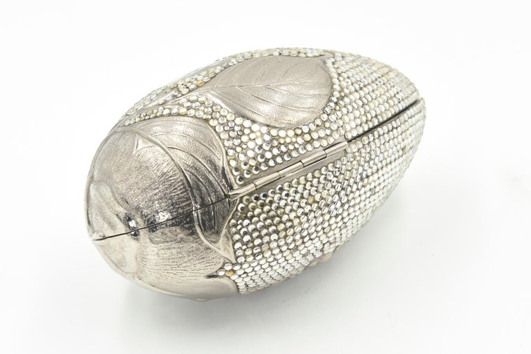 Women's Judith Leiber Floral & Insect Oval Silver Crystal Minaudière Evening Bag For Sale