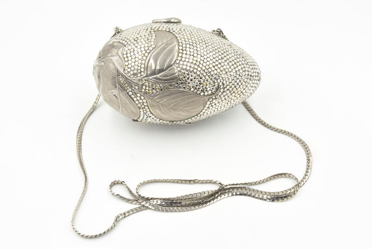 Judith Leiber Floral & Insect Oval Silver Crystal Minaudière Evening Bag For Sale 5