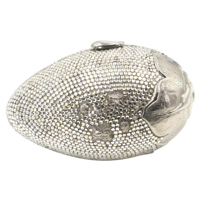 Judith Leiber Floral & Insect Oval Silver Crystal Minaudière Evening Bag For Sale