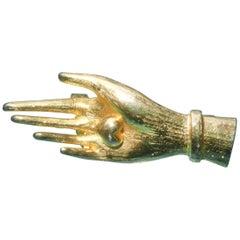 Judith Leiber Gilt Metal Diminutive Size Figural Hand Brooch c 1980s