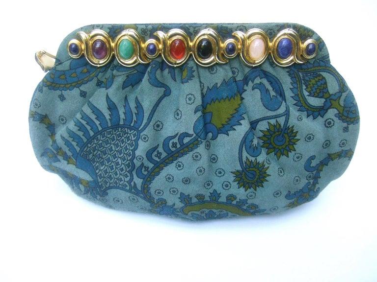 Judith Leiber Glass Stone Blue Suede Clutch - Shoulder Bag c 1980s For Sale 6
