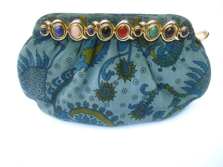 Judith Leiber Glass Stone Blue Suede Clutch - Shoulder Bag c 1980s For Sale 7