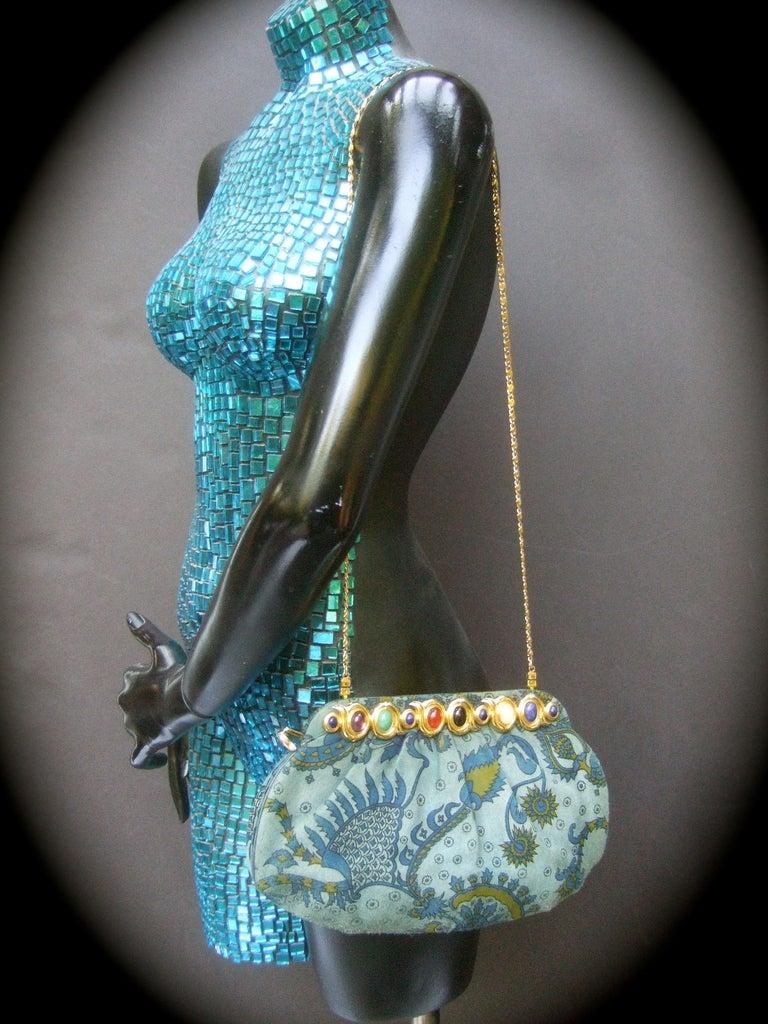 Judith Leiber Glass Stone Blue Suede Clutch - Shoulder Bag c 1980s For Sale 8