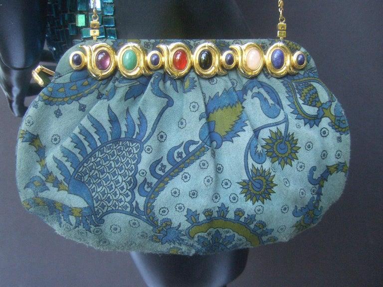 Judith Leiber Glass Stone Blue Suede Clutch - Shoulder Bag c 1980s For Sale 9