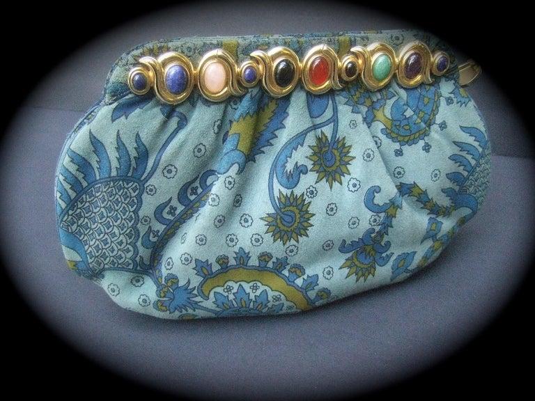 Judith Leiber Glass Stone Blue Suede Clutch - Shoulder Bag c 1980s For Sale 10