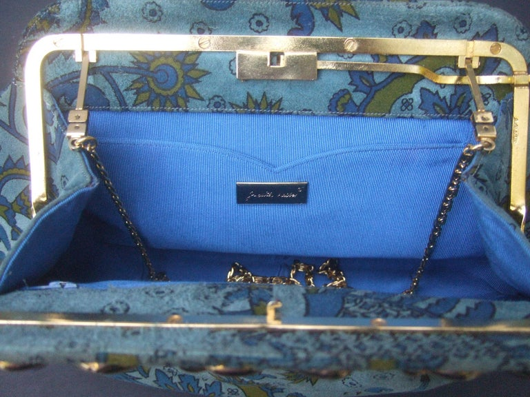 Judith Leiber Glass Stone Blue Suede Clutch - Shoulder Bag c 1980s For Sale 12