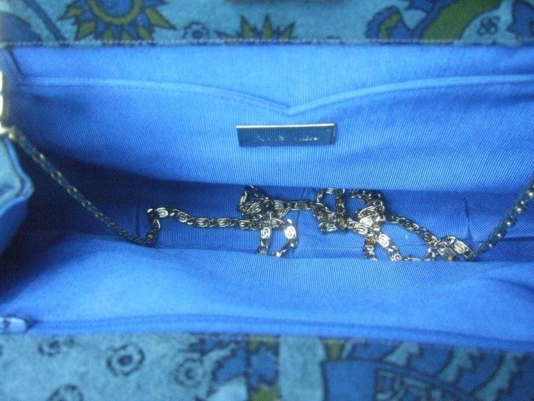 Judith Leiber Glass Stone Blue Suede Clutch - Shoulder Bag c 1980s For Sale 13