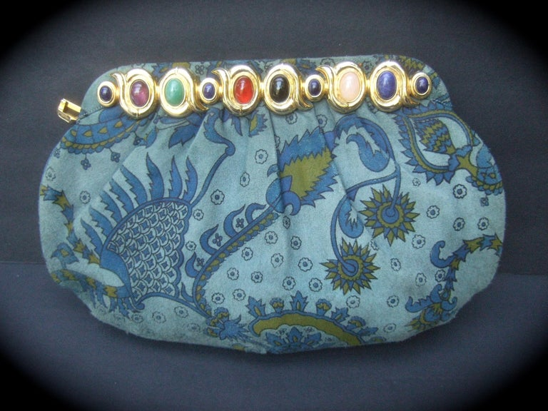 Judith Leiber Glass Stone Blue Suede Clutch - Shoulder Bag c 1980s For Sale 1