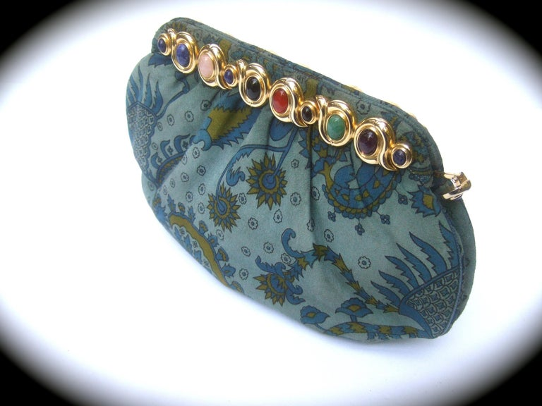 Judith Leiber Glass Stone Blue Suede Clutch - Shoulder Bag c 1980s For Sale 2