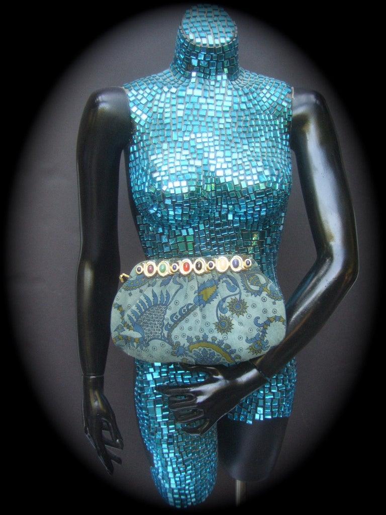 Judith Leiber Glass Stone Blue Suede Clutch - Shoulder Bag c 1980s For Sale 3