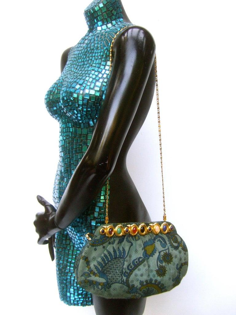 Judith Leiber Glass Stone Blue Suede Clutch - Shoulder Bag c 1980s For Sale 4