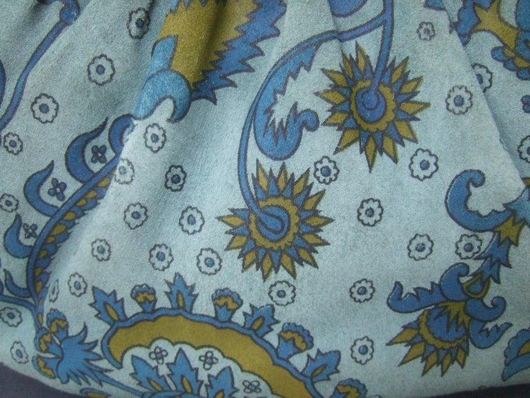 Judith Leiber Glass Stone Blue Suede Clutch - Shoulder Bag c 1980s For Sale 5