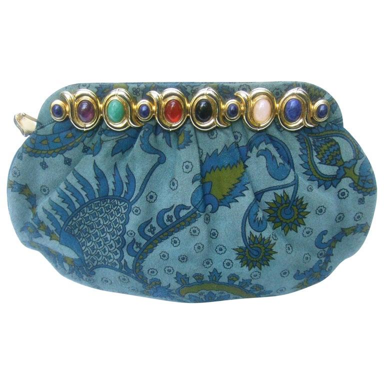 Judith Leiber Glass Stone Blue Suede Clutch - Shoulder Bag c 1980s For Sale