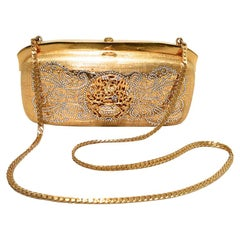 Judith Leiber Gold Filigree Swarovski Crystal Box Minaudiere evening bag clutch