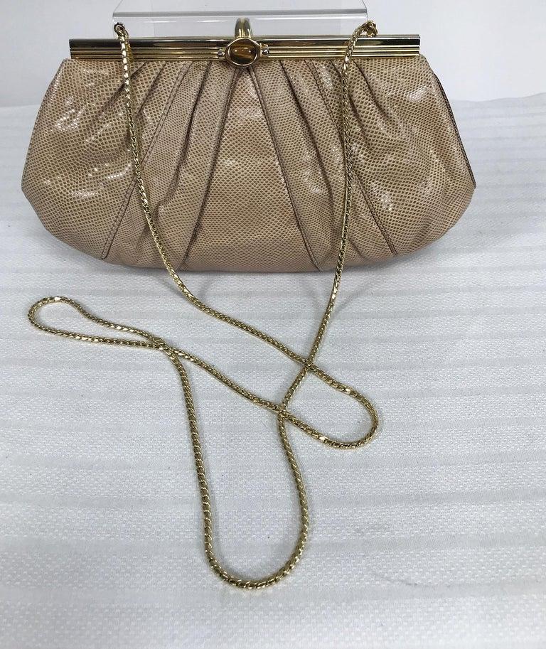 Brown Judith Leiber Gold Frame Tiger Eye Lizard Clutch Shoulder Bag 1980s For Sale
