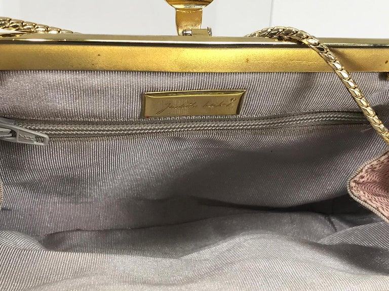 Judith Leiber Gold Frame Tiger Eye Lizard Clutch Shoulder Bag 1980s For Sale 2