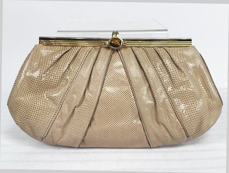 Judith Leiber Gold Frame Tiger Eye Lizard Clutch Shoulder Bag 1980s For Sale 4