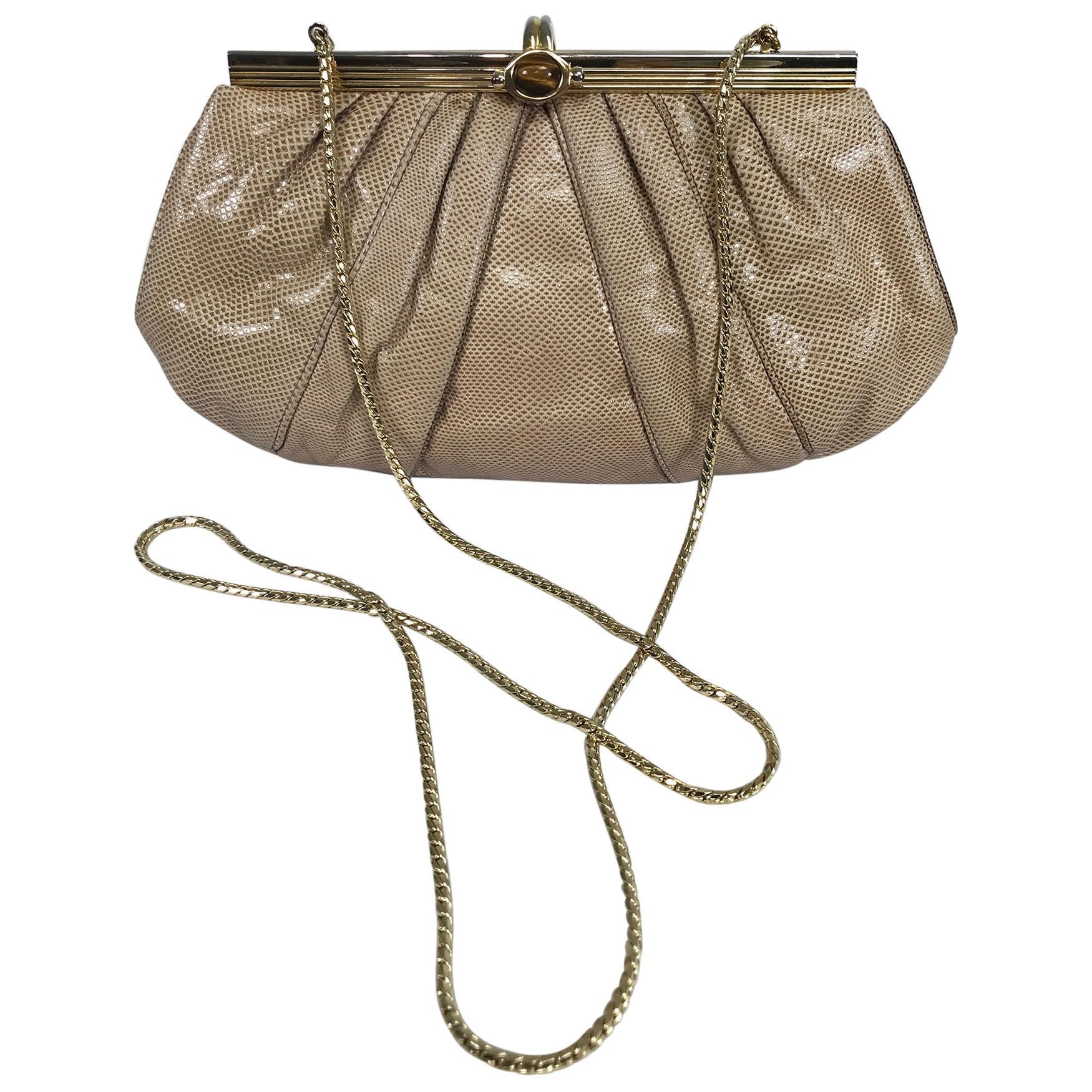 Judith Leiber Gold Frame Tiger Eye Lizard Clutch Shoulder Bag 1980s